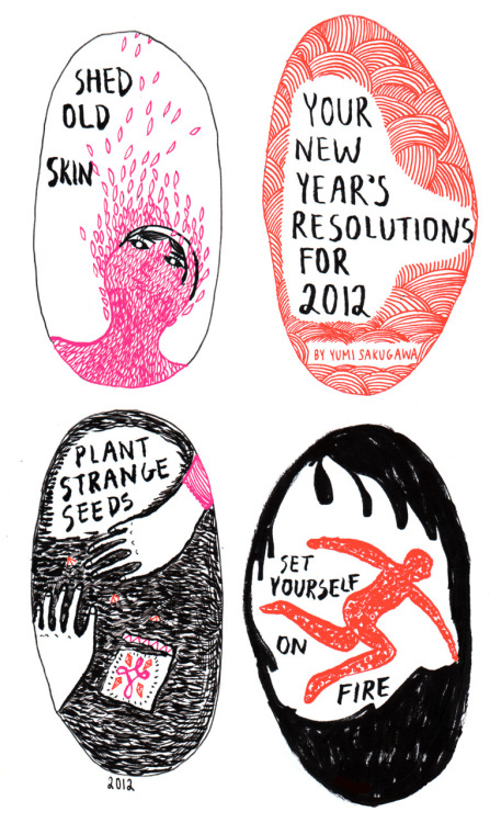 """Your New Year's Resolutions For 2012"" Comic created for Sadie Magazine (www.sadiemagazine.com) 2012"