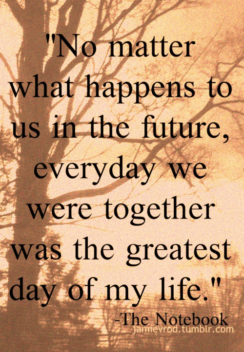 """No matter what happens in the future, everyday we were together was the greatest day of my life."" -The Notebook"