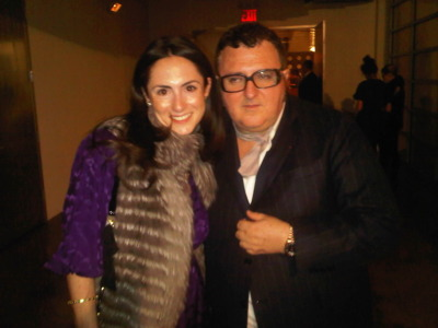 NET-A-PORTER's Editorial Director Claudia Plant with designer Alber Elbaz at Lanvin's intimate pre-fall presentation today. #PF12