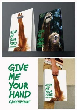 "rhiarhiajonesads:  Give me your hand  Greenpeace This advert is adorable, it shows a selection of creative and innovative bags produced for Greenpeace, each bag has an image of an endangered animal that is in need of our help. This clever way of illustrating the severe damage happening also reminds us that the wildlife in need of help, cannot in fact help itself, it need us. These shopping bags are made from paper, following along with the environmental activist's group ""green"" way of living.  These adorable bags not only persuade people to help out with Greenpeace's current wildlife projects with text, but they also use the text to show this, as the cleverly designed bags, from a distance, look as if you, the user, is holding the animals hand."