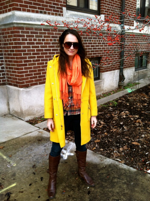 Our Director of Content rockin out in style on the streets midwestchic:  Spotted on the streets of Ann Arbor in between classes, I stopped Natalie to comment on what caught my eye: her canary yellow coat.  Typically, I would stray from yellow during the winter time due to the fact that yellow has the ability to wash out people's skin tones making them look bland, but I've been proven wrong.  This vibrant tailored Michael Kors jacket fits Natalie well, hitting right above her knee and synching appropriately at her waist.  Everyone needs a great fitting jacket—plus, this style has a hood and pockets that provides functionality as well as being fashionable!  Try pairing this canary yellow with cobalt blue, bright marigold, or a warm grey to bring out its fullest potential.   Natalie is also wearing shoes by Matisse and Salt Work jeans.