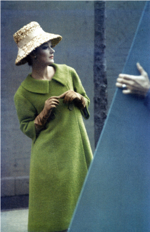 Model in a coat by Seymour Fox.  Photo by Saul Leiter, Harper's Bazaar, Feb. 1959.