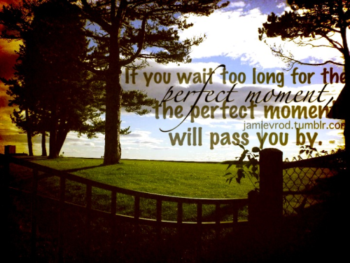 If you wait too long for the perfect moment, the perfect moment will pass you by.