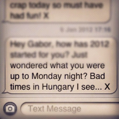 Text message from Dave #london #message #hungary #hirunkavilagban #iphone  (Taken with Instagram at Gunnersbury Railway Station (GUN))