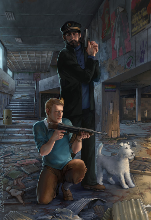 Tintin in Tchernobyl. Painted by me, in my own style :) Like many Europeans, I grew up with the #1 Belgian comic series by  artist/author Hergé (started reading the inherited-from-Dad albums when  I was 8 years old) but it was the movie that put me in full fangirl  mode about one month ago. (Even though the comics are much better.)  This fanart was the perfect excuse for me to get outside my  comfort zone. Tough guys with guns and run-down communist architecture  are very unusual subjects for me (and so is fanart!). It is my belief  that every artist needs to get outside their comfort zone sometimes if  they want to improve and evolve. I've also wondered how those guys would  look like in my own painting style. I really want to do more  fanart in Hergé style, though! The fangirl trip is increasing my  productivity quite a bit… Prepare for more fangirlisms! And yes, I know that Captain Haddock would rather swear off whisky than pulling a James Bond pose! But in my painting he does what I want, haha! :D (Sorry, Archie)Medium: Photoshop and Wacom tablet, as alwaysTime: about 20-30 hours