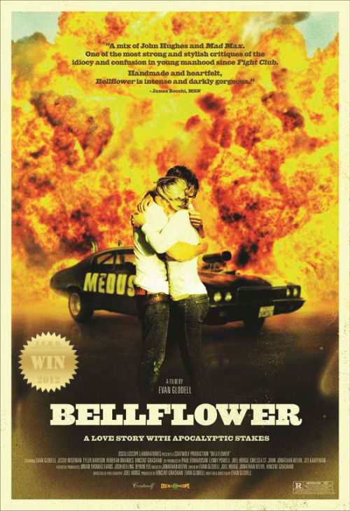 "Bellflower (2011) Two friends spend all their free time building flame-throwers and  weapons of mass destruction in hopes that a global apocalypse will occur  and clear the runway for their imaginary gang ""Mother Medusa"". Directed, Written and Starring Evan Glodell. Bravo! ""Lord Humungus cannot be defied."" - Lord Humungus. Woodrow and Aiden are best buds who love Mad Max 2: The Road Warrior  (1981). So much so, that they make their own  flame-throwers and ride a modified  ""Mother Medusa"" mobile. The apocalypse is nigh! And then… the end begins… One falls madly in love with a quirky and fun blonde. The dynamic duos friendship is put to the test. Love is a BITCH. TRIVIA: No functionality of the Medusa car was faked during filming. The real  life the car is equipped with two flamethrowers, smoke screen, a bleach  drift-kit, adjustable rear suspension, and 3 surveillance cameras; all  controlled from the dashboard. So why the love? This film hit my gut in a way i could never have imagined. A wicked apocalyptic journey with lessons on love and… Friendship - The key element in this fantastic indie fantasy. I loved the car and the texture of the film. Gritty and gnarly. Badass, and yet carries a torch for romance and life. Physical and Emotional devastation! The acting, script and overall production was superb. The use of words like ""dude"" and ""awesome"" made it easier for (me) audiences to relate to the content. Women can be the end of all things men know. Portrayed in this film with violence and ruthlessness of love. The tattoo bit was harsh! Sometime we need to listen to our friends, they may just save us from impending doom. ""You are Lord Fucking Humongous: the Master of Fire, the King of the Wasteland."" Imagine being trapped in a gray world between friendship and love. What would you choose?"