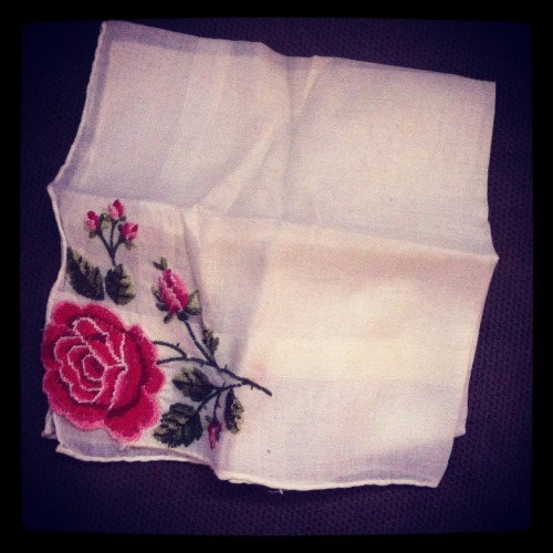 I discovered treasure - a handkerchief found in the pocket of my Grandmother's skirt. Love and miss you Grandma.