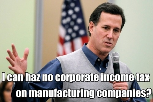 Rick Santorum's one actually good idea: eliminating the corporate income tax on manufacturing companies.  (Chris Carlson / AP Photo)