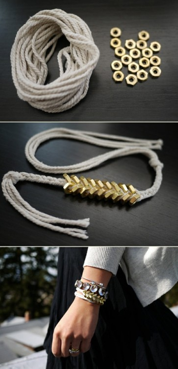 Braided Brass Hex Nut Bracelets. Thanks to my new infatuation with Pinterest I have come across a number of fantastic ideas and DIY projects. This was such a wonderful and unexpected DIY gift find that I just had to try it myself! The bracelets were a smash with everyone who got one as a gift too. These amazing pieces of wrist-candy are selling for upwards of $185 so spending the time to do it is truly worth your while! Follow the step by step instructions here. Please note my following tips as they will save you time: 1. The best size of brass hex nut is 8-32 (use 24 instead of the recommended 18 with this size) or 10-32, which are slightly bigger, here 18 is all you need. As far as where to buy these brass nuts, it was much more difficult to find than expected …. but ultimately Home Depot stocks them and the staff was very amused by my project.  2. For my projects I used kitchen twine which frayed too easily so I would recommend something that can be easily threaded through the nuts - check your local craft store and experiment for best results. Happy Crafting!