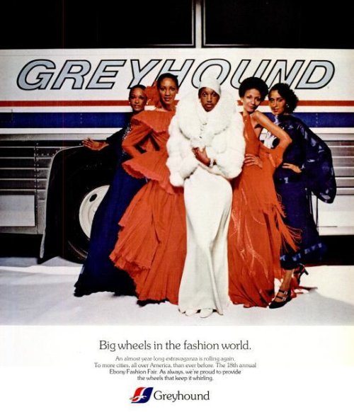 Glam on the Hound. Greyhound and EBONY Fashion Fair Ad, March 1963.
