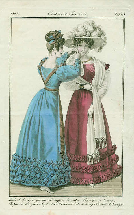 Journal des Dames et des Modes, 1825.  Look at the awesome back on that blue gown!