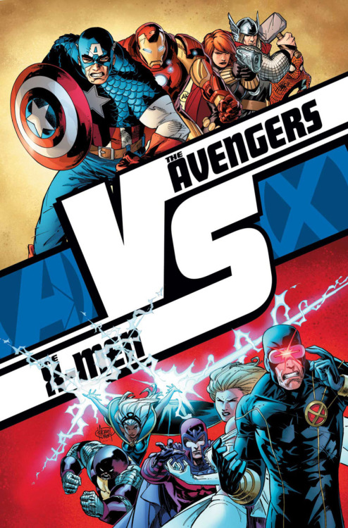 "amazingxmen:  AvX: Versus Tie in   I don't care for this event but that's a cool image. Shame ""crossovers"" don't really matter anymore if it's still within the same universe."