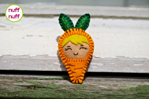 Happy Carrot Girl brooch by nuffnufftoys