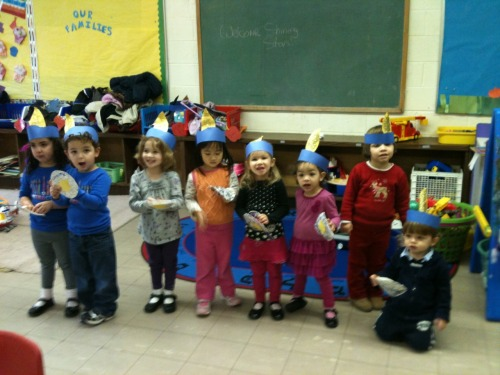 Celebrating Hanukkah at White Meadow Temple Nursery School in Rockaway, NJ.