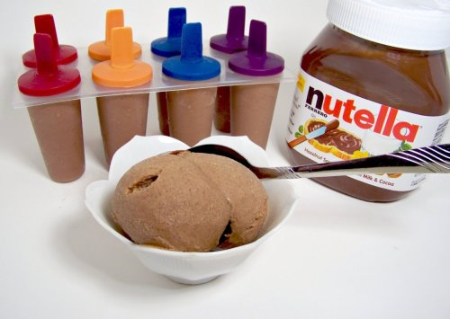 Nutella Ice Cream Ingredients1 cup of Nutella6 BananasThat's it. You can add cinnamon or cocoa powder if you want but it isn't needed. Throw the two ingredients into a blender or food processor and blend till very smooth. Pour into Freezer safe container (or posicle forms, I recommend small, the ones I used hold a little over 1/3 cup). Impatiently wait for it to freeze then devour.