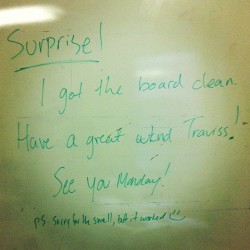 #TGIF whiteboard message from @BecZels @INcubesTO (Taken with Instagram at INcubes)