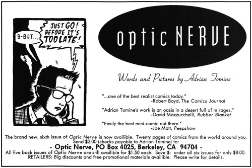 Promotional ad for the sixth issue of the Optic Nerve mini-comic series by Adrian Tomine, 1993.
