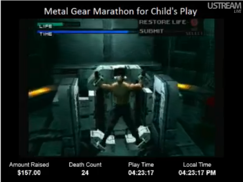 unaspi:  Rated M for Marathon!METAL GEAR SOLID  Please come in, watch, and donate to Child's Play!! If you donate over $5, you'll be entered into a raffle to win some badass games on steam! Come on guys, it's all for Child's Play charity AND you can hear my wonderful sexy friend Rachel aka Minty Dragons on the mic as a bonus!  We're on disc 2 now, at 44 deaths and $230 donated! please join in!