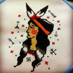 Finished the Indian girl! #crossstitch #dastitchincrew #stitchswitch (Taken with instagram)