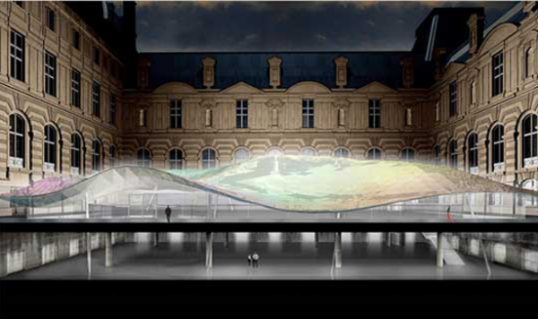 architizer:  The new Arts of Islam gallery at the Louvre boasts a massive undulating glass roof configured to look like a flowing Islamic headscarf.