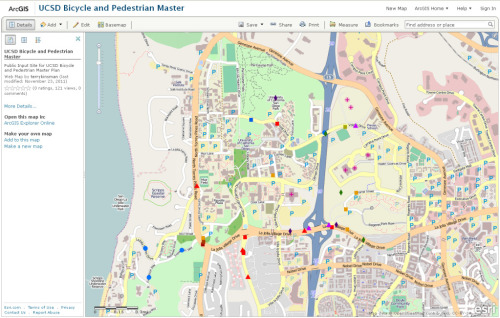 NEW! (or a month late..) You can now comment directly on a map of UCSD and surrounding areas regarding bike-ped issues. Create your free user account here at ESRI. Register your account here with ArcGIS. Access the MAP here to edit/add comments with placemarkers. This is really important, guys! Especially if you're a student living in the area who ever has to walk or bike outside. Don't want you to get hit by a car! UCSD Bike-Ped Master Plan.