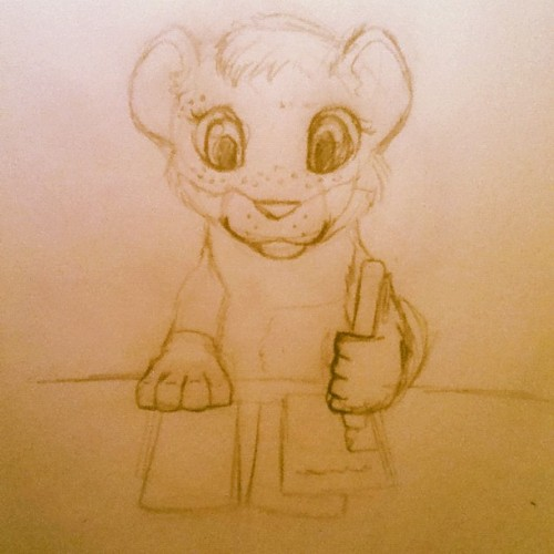 My sketch of a drawing I did of my little sister as a tiger type creature. She likes to write so that is what she is doing :) I will scan and color it on the computer later :3 #sister #drawing #art #wip #sketch (Taken with instagram)