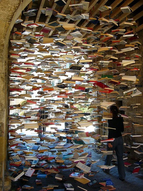 whenthenightturnscold:  Raining Books http://www.flickr.com/photos/overthemoon/1392424865/