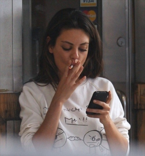 cr-eme:  celebritiessmoking:  Mila Kunis  my icon