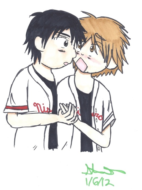 Abe and Mihashi for @catchernumber_2! She wanted a little more yaoi  in her picture, so I tried to draw them a little more intimately. (For  the record, when you're commissioning me, feel free to ask for yaoi,  but don't expect it to be hardcore. Ask any artist and they'll tell you  that it's really, really awkward and uncomfortable to draw someone  else's porn. That being said, I'm perfectly fine drawing people of all  sexual persuasions kissing, etc.)