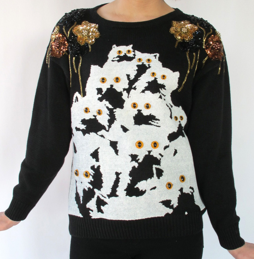 super cute sequins sweater with white kitties! Pretty Snake @ http://www.etsy.com/shop/PrettySnake