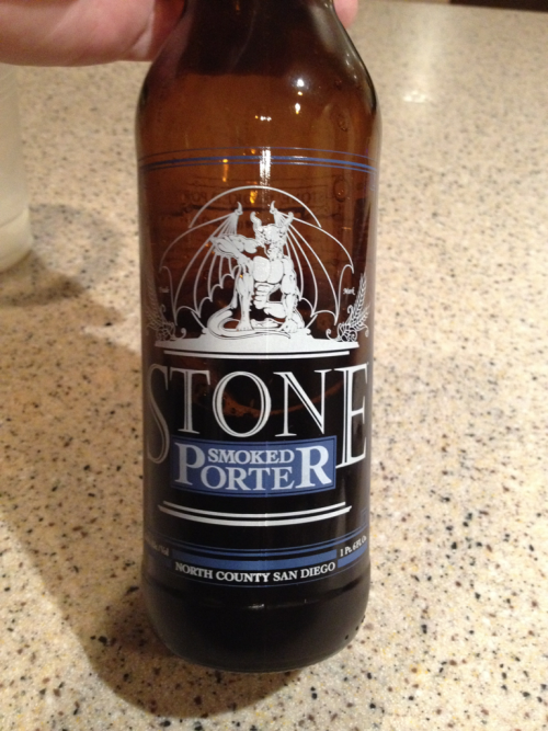 Craft beer time!  Smoked porter by stone brewing co.