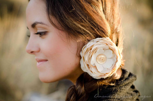 Gorgeous linen and lace flower hair clip from the lovely Sara with Buttons n Blossoms
