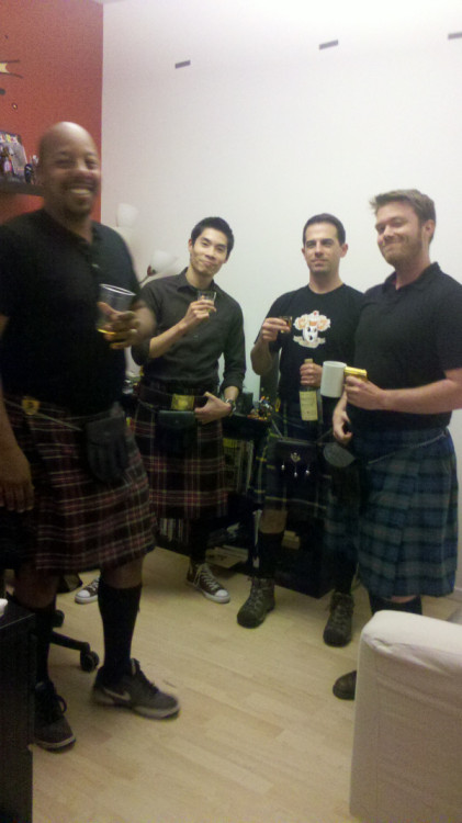 Each Friday, a bunch of us on Brave wear our kilts and have a shot of scotch.  Slainte!