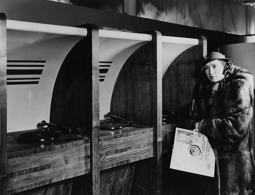 First listening booths in HMV Oxford Street Store in The 1930s