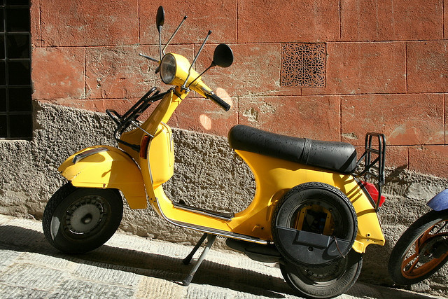 | ♕ |  Yellow Vespa - streets in Siena, Tuscany  | by © echiner1