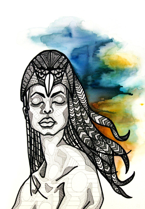Hawk Headdress - Pen, Ink + Watercolor - by Allison Kunath More photos in my Etsy Shop