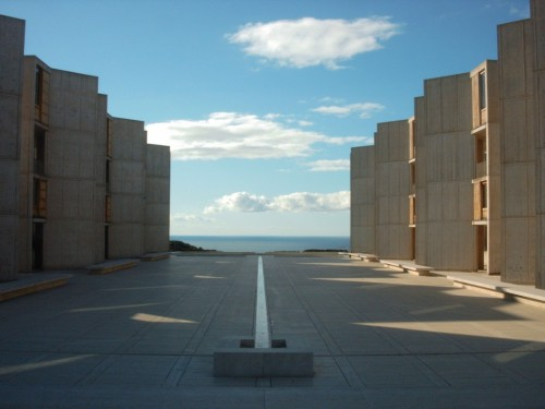 """The Salk Institute for Biological Studies in La Jolla, California, is an independent, non-profit, scientific research institute. Since the 1960's, the institute is located in this complex, consisting of two symmetrical buildings with a stream of water flowing in the middle. The Salk Institute is one of the few buildings realized by Louis Kahn. It is still one of the most astonishing buildings on the west coast and since has become part of architectural history."""