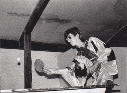 And now, David Bowie in a kimono playing table tennis.