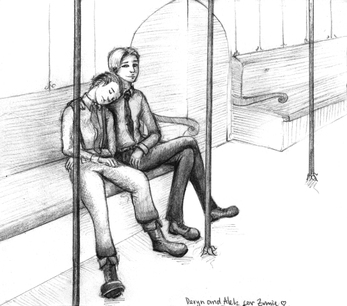 gilaniath:  Alek and Deryn, actually for Viv. On an underground train after a long day at the Society. Seeing as there were some Underground lines already in the 1860s in London and On the Origin of Species wasn't published until 1859, I thought it wouldn't be too much of a stretch to have them exist even in Leviathan's alternate universe.