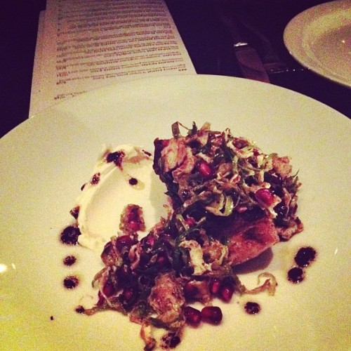 Wild striped sea bass, brussels, pomegranate, mascarpone. @telegraphwine #birthdaydinner (Taken with instagram)