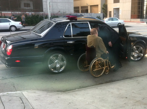 Celebrity sighting! Larry Flynt in a brand new Bentley and what appears to be a solid gold and red velvet wheelchair. Photo credit Steven Zacks.