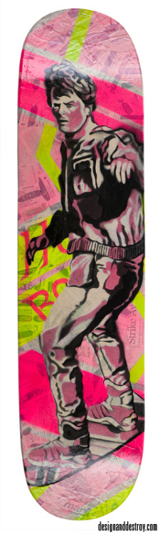 I Need to Borrow Your—Hoverboard?8x32, spray paint & collage on woodfor Rendition Gallery, Fort Collins, CO