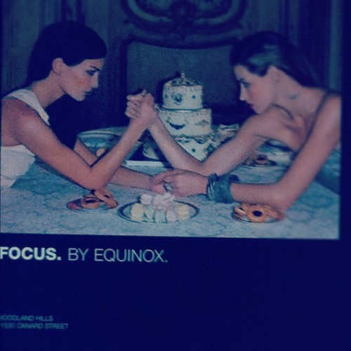 A+ to @Equinox's marketing strategy! High fashion + clever copy to get you to look at working out differently. #focus #beastmode  (Taken with instagram)