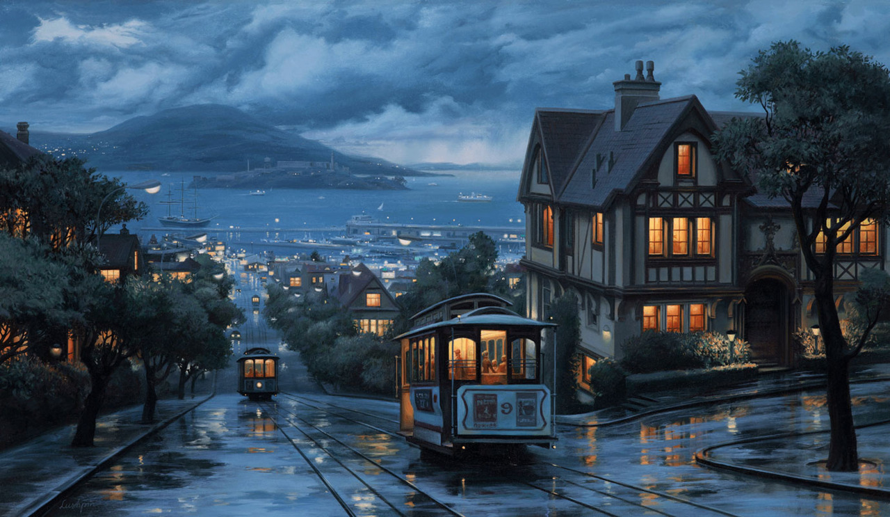 It must be San Francisco, where else has cable cars on hills like this.  More Eugene Lushpin HERE Thanks to my Good Fairy Linda6