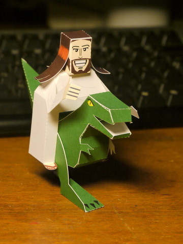 ianbrooks:  Jesus Riding A Dinosaur Papercraft by Markus/digitprop The way it was always meant to be! To make your own Raptor-Riding Buddy Christ, download the PDF at this differently colored link.   (via: SuperPunch)   RAWR!