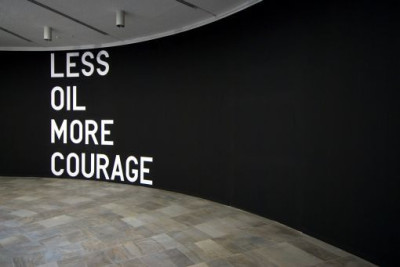 """less oil more courage"" by rirkrit tiravanija"