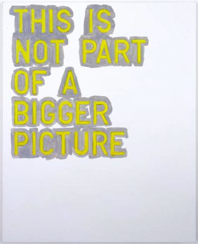 """this is not part of a bigger picture"" by rirkrit tiravanija"