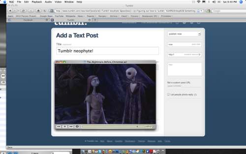 Tumblr neophyte! Figuring out how to 'tumblr.' Something new for 2012. Happy new year!