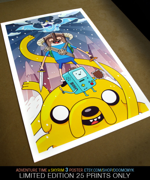 doomsdaily:   NEW! Adventure Time x Skyrim #3 fan art poster. Limited Edition 25 prints: http://www.etsy.com/shop/doomcmyk