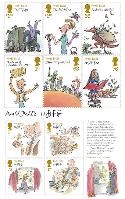 prettybooks:  The Royal Mail has produced Roald Dahl stamps! They are available from the 10th January and can be shipped worldwide. See more stamps here.